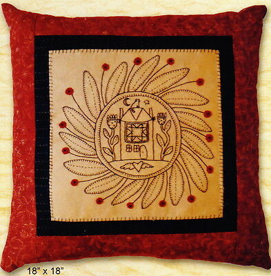 Mulberry Lane - vintage style stitchery and pieced pillow PATTERN