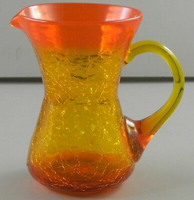 Amberina Crackle Blown Glass Pitcher Vintage