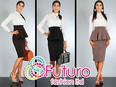 Elegant Skirt with Frill High Waist Multicolours Size 8-12 FA36