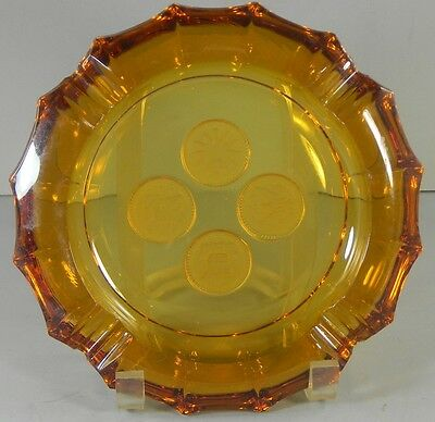 Fostoria Amber Glass Coin Ashtray Vintage