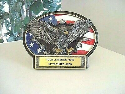Patriotic Americana American Eagle Award Plaque Trophy Military Free Lettering