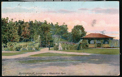 BURLINGTON VT Ethan Allen Park Entrance Antique Postcard Early Old Vtg Vermont