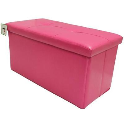 Folding Pink Ottoman Storage/toy Chest/bedding Box Faux Leather Girls Bedroom