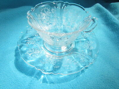 4 Heisey Orchid Cups & Saucers On Queen Ann Blank
