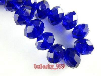 3~16MM Faceted Rondelle Loose Finding Glass Crystal Beads Royal Blue