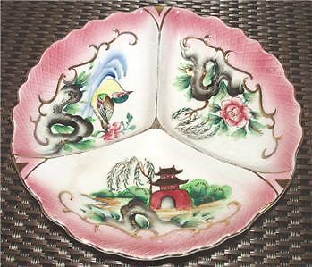 Relish Serving Dish 3 Sections Rose Duck Pagoda Hand Painted Vintage