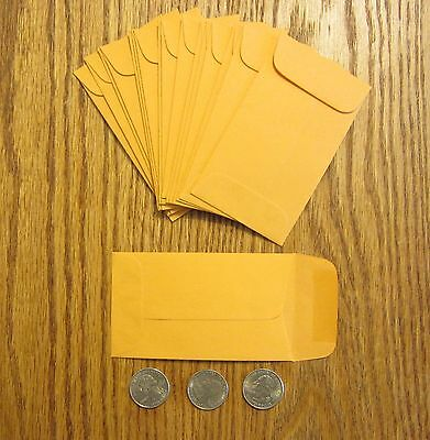 """50 Small Kraft Coin Envelopes  #3  Size 2.5"""" By 4.25""""  With Gummed Flap Change"""