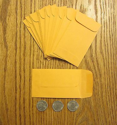 """100 Kraft Small Change Coin Envelopes  #3  Size 2.5"""" By 4.25""""  With Gummed Flap"""