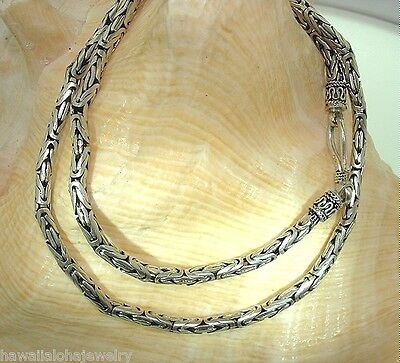 "2.9-6.8Mm Variety Oxidized Sterling Silver Bali Byzantine Chain Necklace 16""-20"""