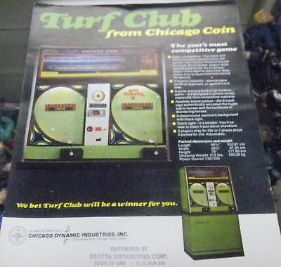 Vintage Turf Club Horse Race Arcade Game Advertising Sheet RARE by Chicago Coin