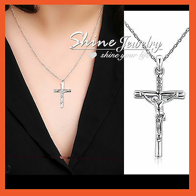 18K WHITE GOLD FILLED silver P50 CRUCIFIX CROSS LADY MENS SOLID NECKLACE PENDANT