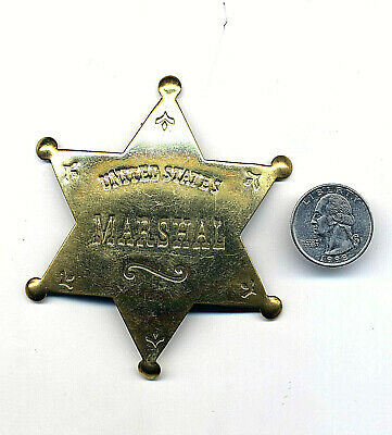 """US Marshal Sheriff Badge Old West Brass Star County Law 3.5"""" Deadwood Tombstone"""