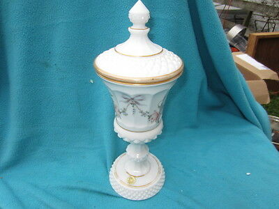 Westmoreland Early American Hand Painted Milkglass Coverd Urn, Compote