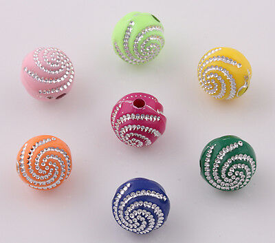 New 200pcs Candy Color Acrylic Spacer Loose Spiral Beads10mm U Pick Color