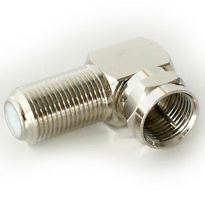 2x 90 Degree F Type Screw Connector Adapter-Sat Coax Right Angled Plug to Socket