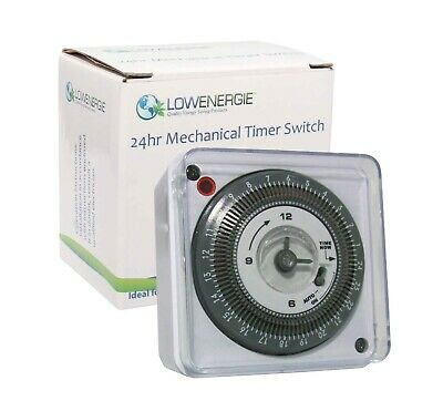 Lowenergie 24 Hour Mechanical Immersion Heater Time switch Socket Box Timer, 16A