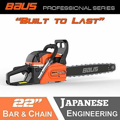 "NEW BAUS 62cc Petrol Commercial Chainsaw 22"" Bar E-Start Chain Saw tree pruning"