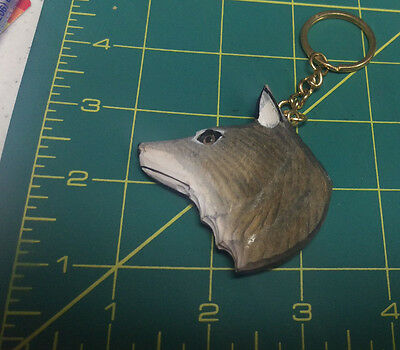 Hand Carved Wood Wolf Keychain - neat collectible - lightweight wooden keychain