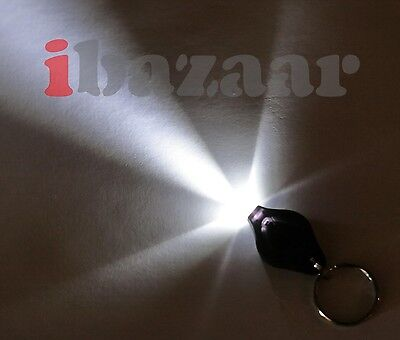 Black case White LED Key Ring Keyring Torch Light P&H$0