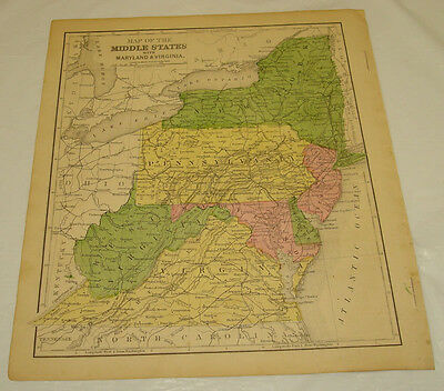 1871 WARREN Antique Map/MIDDLE STATES of USA/NY,PA,NJ,WV,VA,MD,DE/Hand-Colored