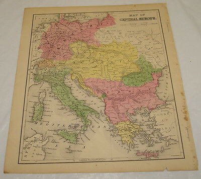 1871 WARREN Antique Map/CENTRAL EUROPE/Germany,Italy,Austria,Greece/Hand-Colored