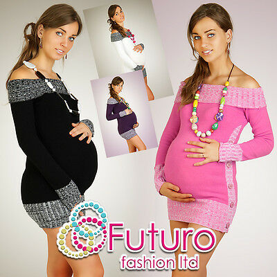 Women's Maternity Cardigan Very Soft Boat Neck Tunic Jumper FR04