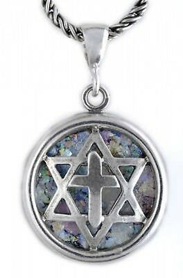 Special 925 Sterling Silver Ancient Roman Glass Cross David Star Pendant