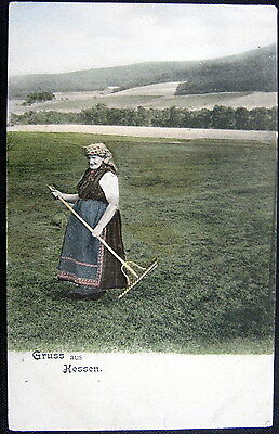 GERMANY~1900's GRUSS AUS HESSEN ~ FARMER LADY WITH WOODEN RAKE ~MAKING HAY