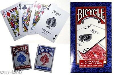 12 Pack New Bicycle Playing Deck Cards Red & Blue