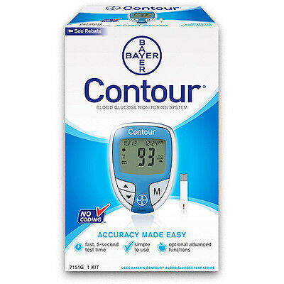 Bayer Contour Blood Glucose Monitoring System,No Coding  Blue Color + 10 Strips