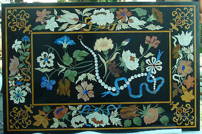 Pietra Dura Stone Marble Inlay Center Dining Table Top Rare Italian Art Replica