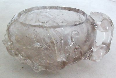 "Chinese Hand Carved Rock Crystal Brush Washer w/ CHILONG Baby Dragon  (4.5"")"