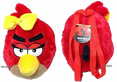 """ANGRY BIRDS PLUSH BACKPACK! RED BIRD ROUND SOFT DOLL LICENSED ROVIO! 14"""" NWT"""