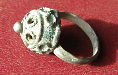 AUTHENTIC ANCIENT SILVER ISLAMIC CRUSADER RING 6 US 16.5mm 8666