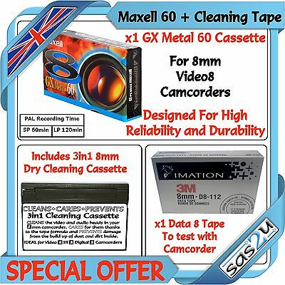 1 Maxell 60 8mm Camcorder Video8 Tape & 1 Data8 + Hi8 Digital8 Cleaning Cassette