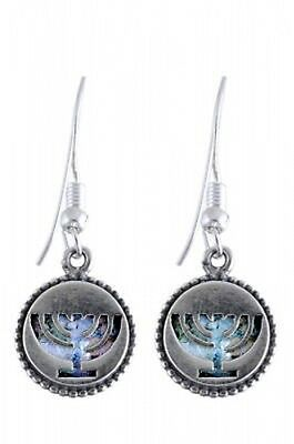 Special Dangle 925 Sterling Silver Ancient Roman Glass Earrings Menorah Judaica