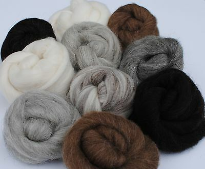 Heidifeathers Natural Wool Tops  'Animal Mix' - Felting Wool (250g)