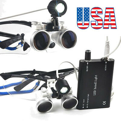 Dental Loupes 3.5X420mm Surgical Medical Binocular with LED Head Light Lamp USA^