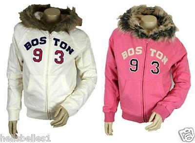 "Girl's Ex New Look ""boston"" Fully Lined Hooded/hoody Zipper 3 4 5 6 7 8 9 10 Yrs"