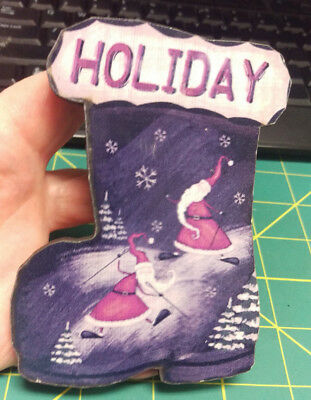 Holiday! Cute Christmas Theme with Santa Wood Fridge magnet Boot Shaped