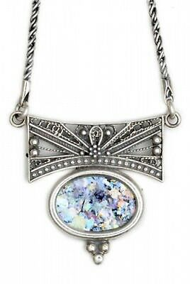 Exclusive Woman Ancient Roman Glass 925 Sterling Silver Necklace