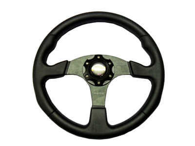 "New 14"" PU 3 Spoke Sport Racing Steering Wheel + Horn Button 4-8 days postage"