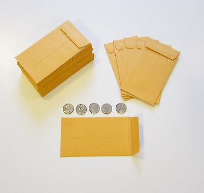 "100 New Kraft Coin Change Envelopes #6 Size 3.375"" X 6"" Seed Jewelry Parts Stamp"