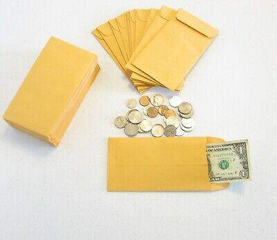"100 Small Kraft Coin Envelopes Size 3.5"" X 6.5"" Seed Jewelry Parts  #7  Stamps"