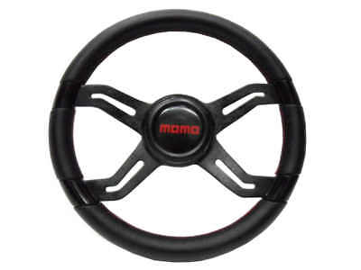 "New Leather Red Stitch Strong Black Spoke 14"" Car Racing Steering Wheel"