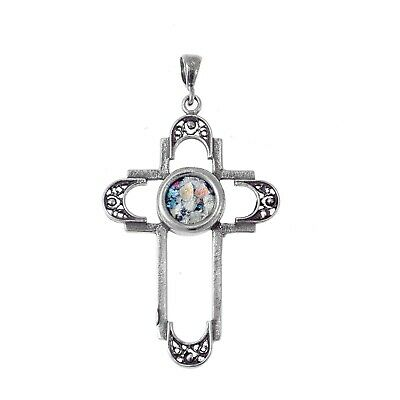 Filigree Cross Ancient Roman Glass 925 Sterling Silver Pendant
