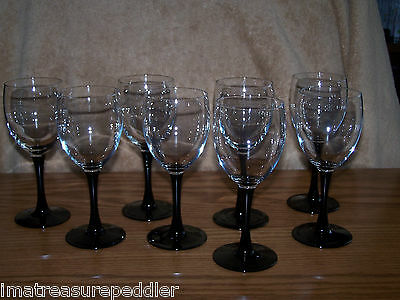 Cris D'Arques Luminarc 4 Black Amethyst with Clear Bowl Wine Water Goblets