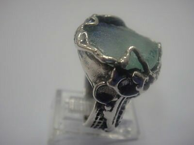 Beautiful 925 Sterling Silver Ancient Roman Glass Ring Custom Size 5