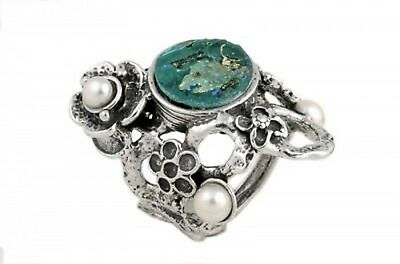 Special Flower 925 Sterling Silver Ancient Roman Glass Pearl Ring size 5