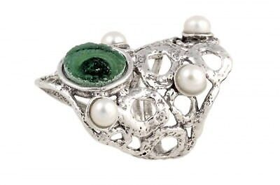 Stunning Flower 925 Sterling Silver Ancient Roman Glass Pearl Ring size 5